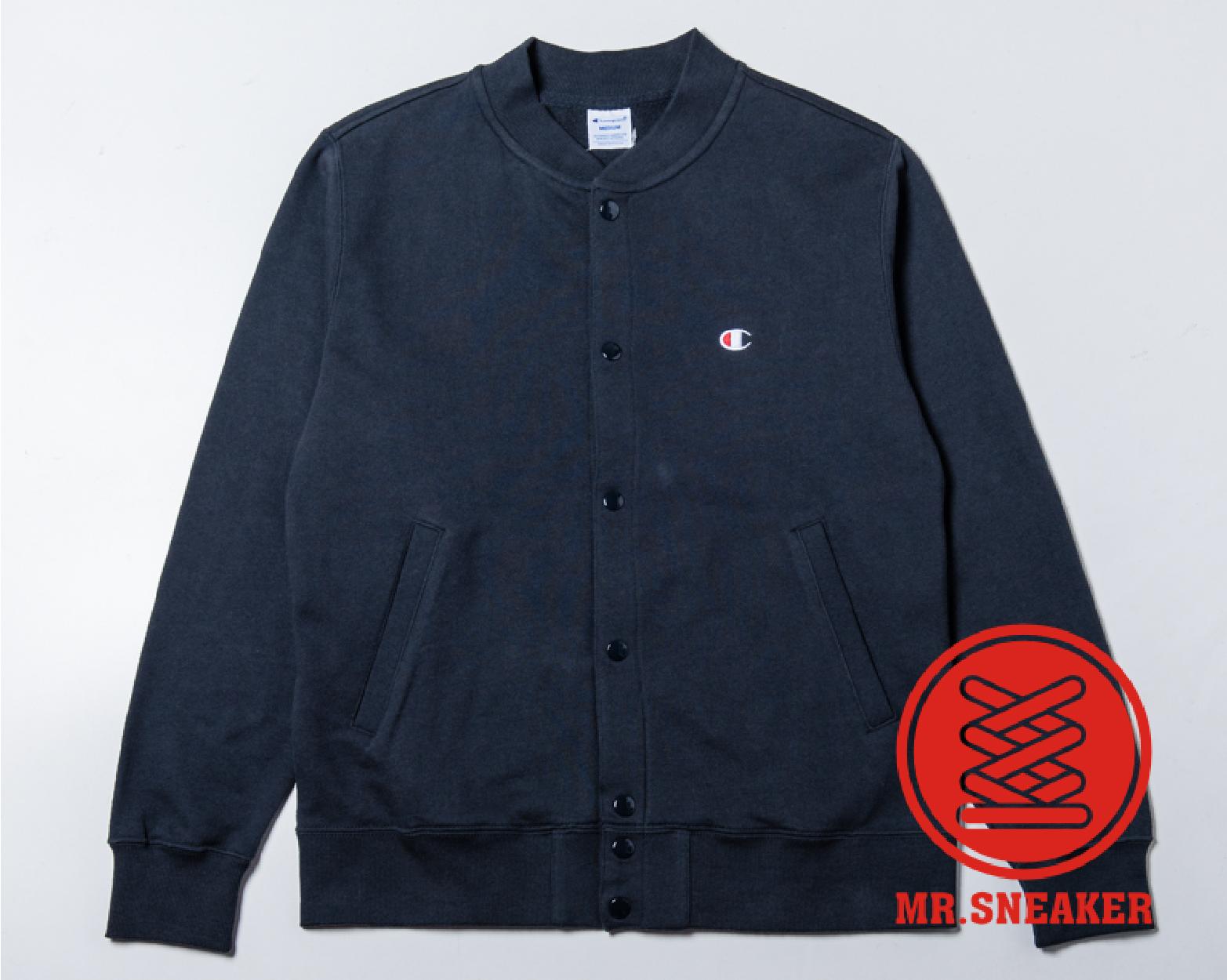 ☆Mr.Sneaker☆ Champion 日線 Basic french terry 棒球外套 毛圈布料 基本款 深藍