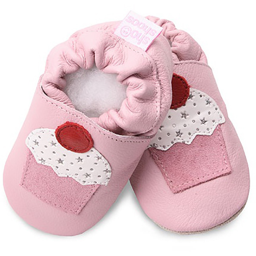【HELLA 媽咪寶貝】英國 shooshoos 安全無毒真皮手工鞋/學步鞋/嬰兒鞋_淡粉/杯子蛋糕_GRY42 (公司貨)