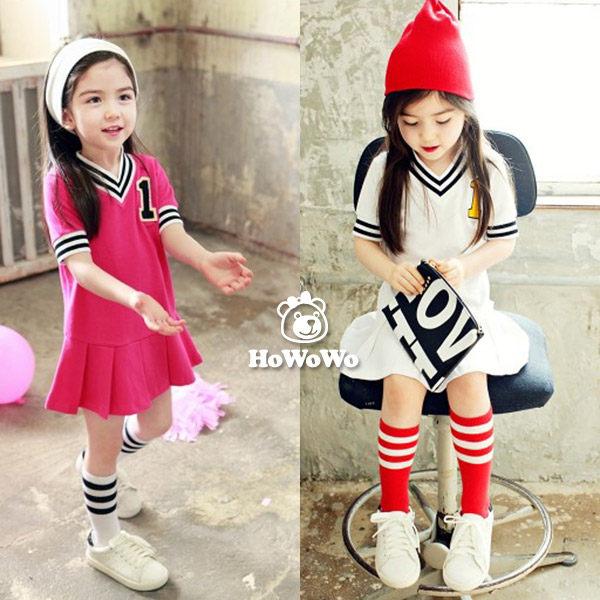 短袖洋裝 數字棒球連衣裙 短裙 HZ33107