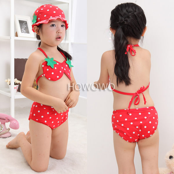 泳裝+泳帽 草莓比基尼泳衣三件套 SE0027