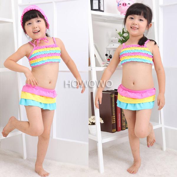 泳裝+泳帽 彩虹蛋糕裙比基尼泳衣三件套 SE0034
