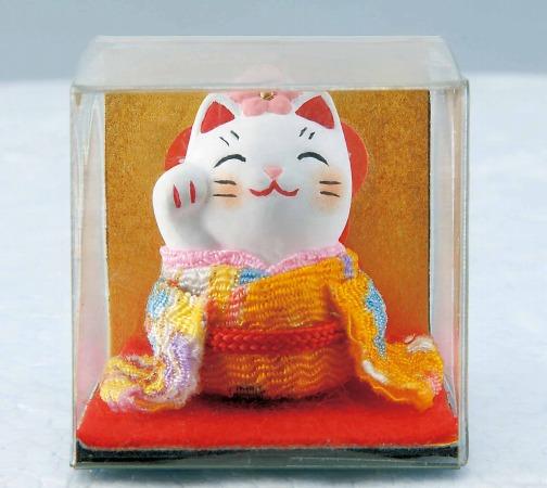 日本原裝 日本製 藥師窯招財貓系列-錦彩花飾招財貓7366/單售