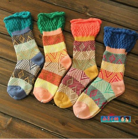 日韓系民族風複古花邊粗線女襪子 森女襪短襪棉襪靴襪-4色/單售