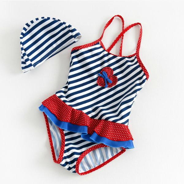 海軍風兒童泳衣 女童連體裙式泳裝 小寶寶女孩嬰兒幼兒溫泉遊泳衣