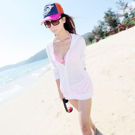 日韓夏新款 比基尼罩衫長袖 透明泳衣防曬衣 沙灘衣女防曬衫