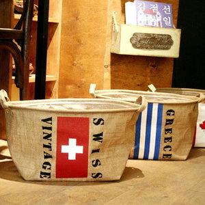 日式雜貨 棉麻國旗手提收納袋 麻布收納籃 洗衣袋