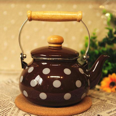 日式居家廚具 復古1.3L搪瓷燒水壺涼水壺咖啡色點點 電磁爐瓦斯直火適用