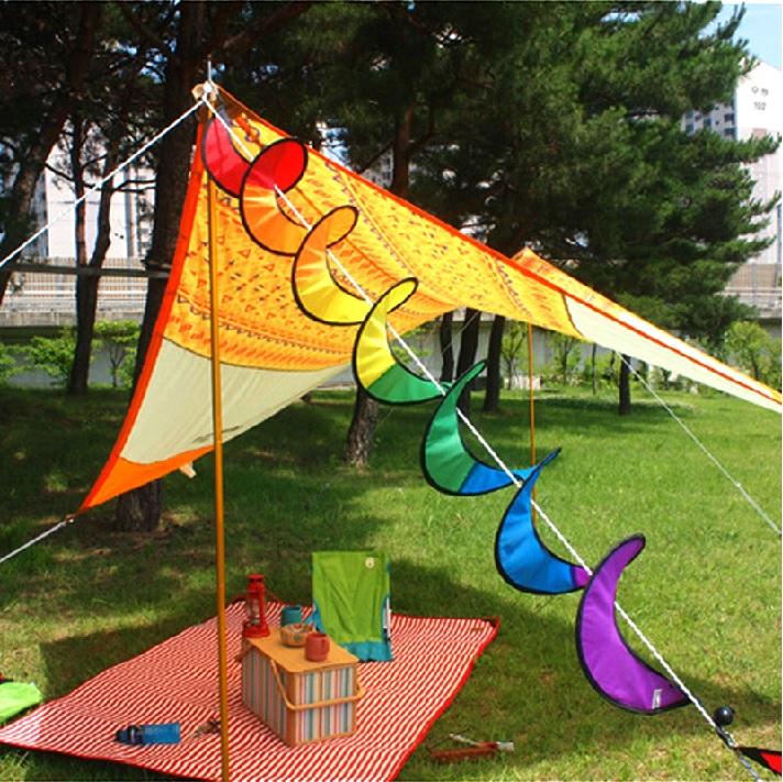 露營佈置 七彩旋轉風條 風車動感野營風車 彩旗 風條