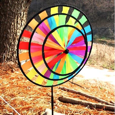 露營佈置 彩虹輪七彩瓢蟲蜜蜂動感野營風車 彩旗 風條