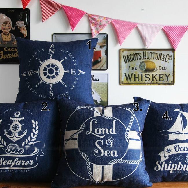 45*45 藍地中海厚實棉麻抱枕套 沙發靠墊 航海系列 家居酒吧 /單面圖案