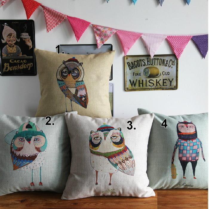 45*45 貓頭鷹圖案棉麻抱枕套 沙發靠墊  /單面圖案