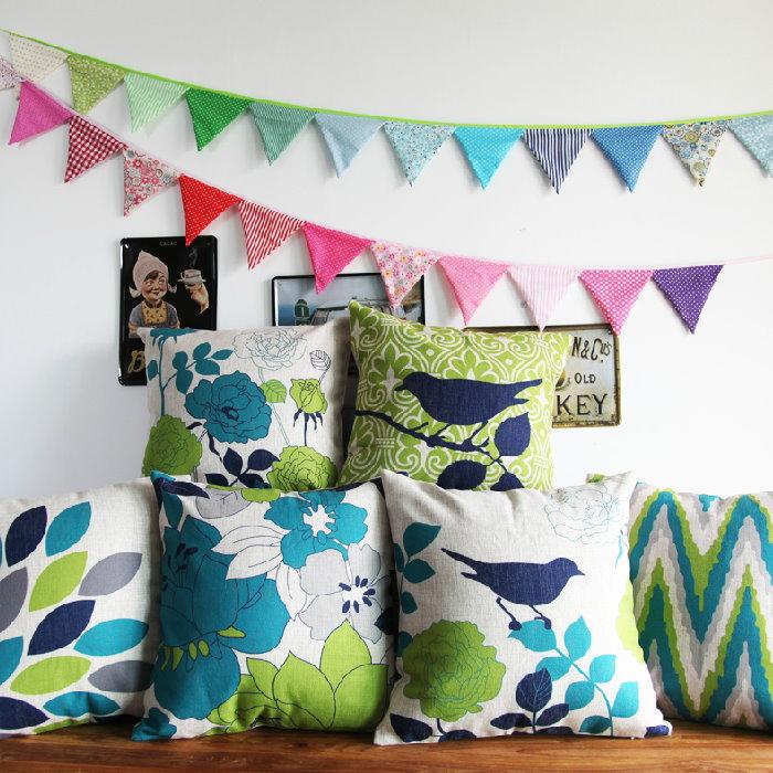 45*45 美式鄉村風格花朵小鳥棉麻抱枕套 沙發靠墊  /單面圖案