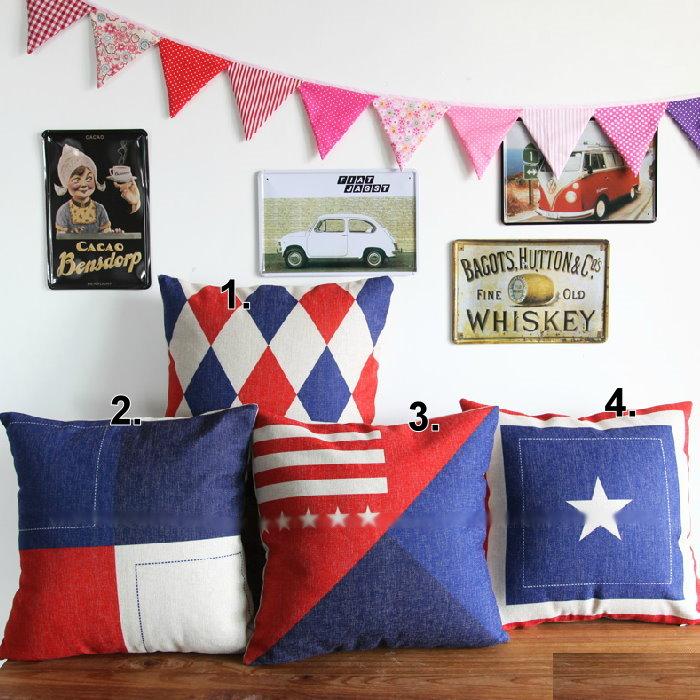 45*45 紅藍英倫風棉麻抱枕套 沙發靠墊 家居酒吧 /單面圖案