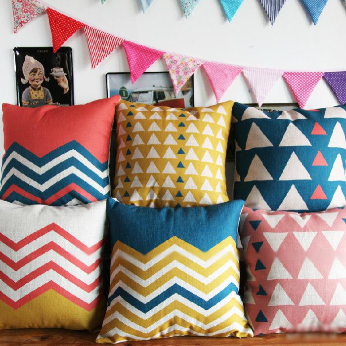 45*45 幾何彩色條紋三角棉麻抱枕套 沙發靠墊 家居酒吧 /單面圖案