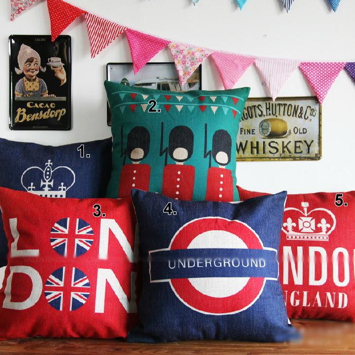 45*45 英倫倫敦復古風棉麻抱枕套 沙發靠墊 家居酒吧 /單面圖案