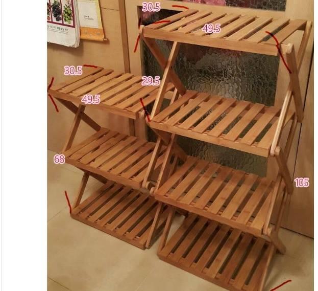 露營戶外居家折疊花架置物架竹製-三層款(附收納袋)