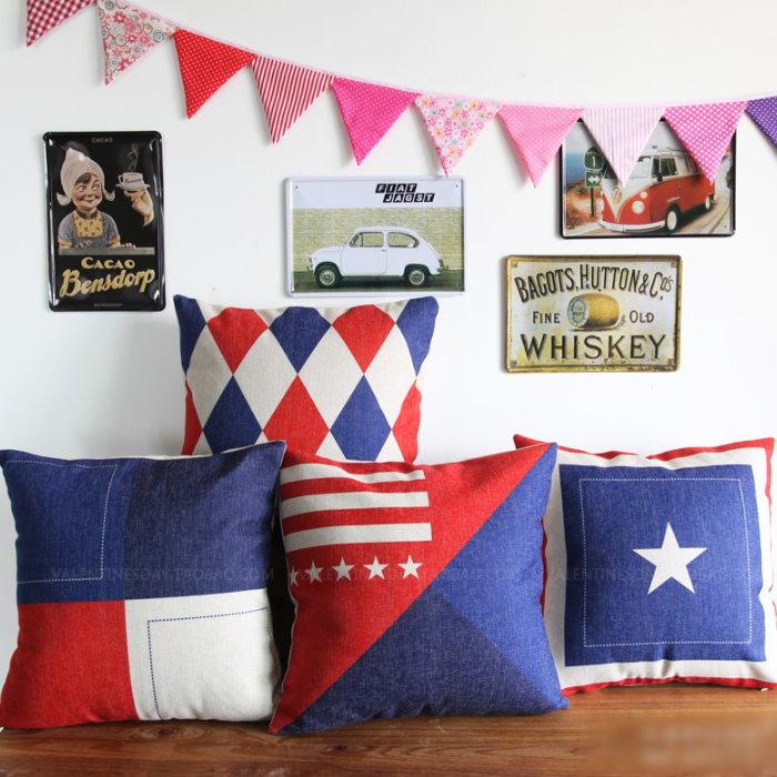 45*45 紅藍英倫風簡約風棉麻抱枕套 沙發靠墊 家居酒吧 /單面圖案