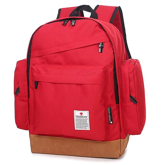 日韓新款 學院風休閒帆布雙口袋旅行學生後揹包雙肩包可當媽媽包