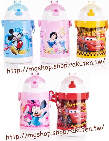 迪士尼夏季兒童吸管杯/背帶式軟吸管水壺420ml/4118-(汽車.米奇.米妮.公主)單售