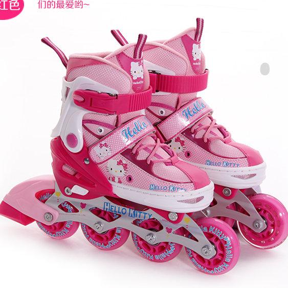 Hello Kitty 凱蒂貓可調兒童溜冰鞋 直排輪三輪四輪 全套裝組-粉紅色