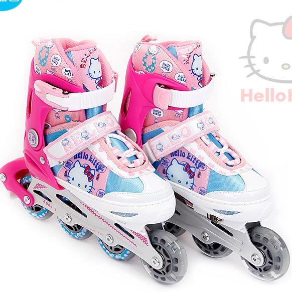 Hello Kitty 凱蒂貓可調兒童溜冰鞋 直排輪三輪四輪 全套裝組-粉藍色