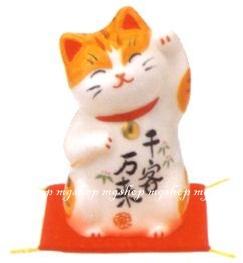 日本原裝 日本製 藥師窯招財貓系列-彩繪千客萬來(小)7744
