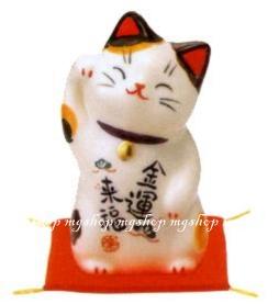 日本原裝 日本製 藥師窯招財貓系列-彩繪金運來福(小)7743