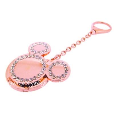 日本原裝 迪士尼 米奇頭型水鑽 鑰匙圈/掛勾吊飾-玫瑰金色