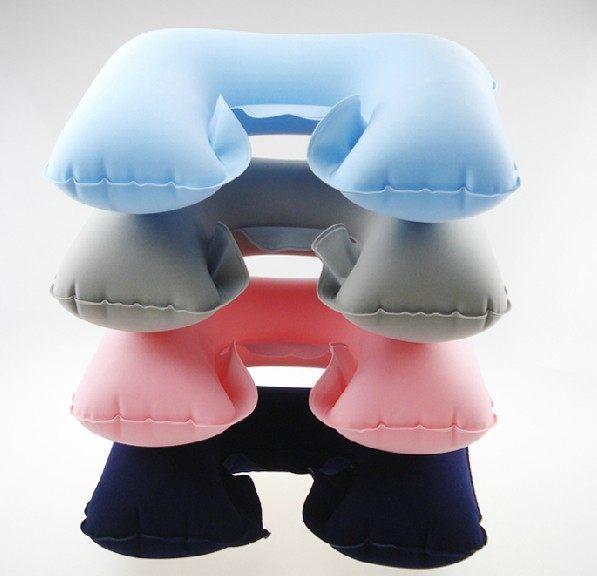 WELLHOUSE環保U型枕/旅行枕電視枕/吹氣枕充氣枕(粉/藍/灰/深藍色)旅行用品