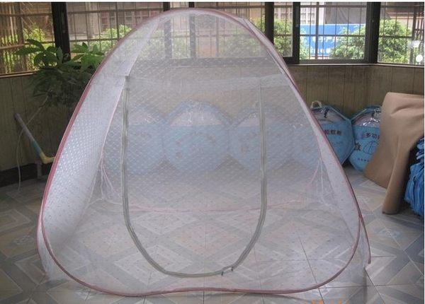 120x200cm豪華升級版自彈可折疊魔術蒙古包蚊帳提花加密二開門雙人蚊帳