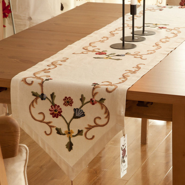 140x40cm田園北歐鄉村風手工布藝 餐桌旗 桌布 鞋櫃蓋布 桌巾 歐式桌旗 A20/單售
