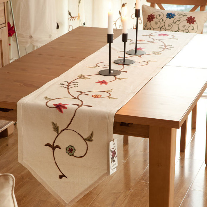 160x40cm田園北歐鄉村風手工布藝 餐桌旗 桌布 鞋櫃蓋布 桌巾 歐式桌旗 A58/單售