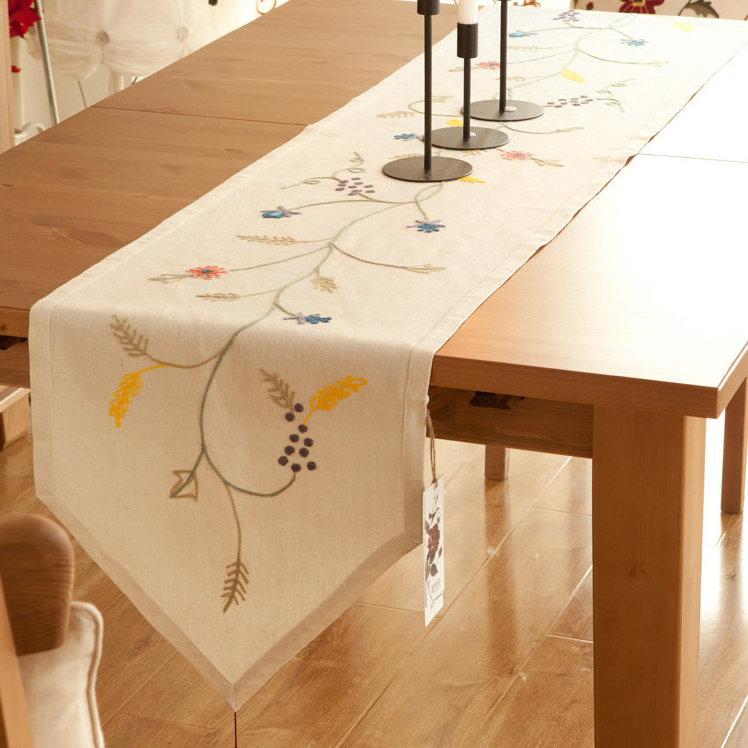 160x40cm田園北歐鄉村風手工布藝 餐桌旗 桌布 鞋櫃蓋布 桌巾 歐式桌旗 A52/單售