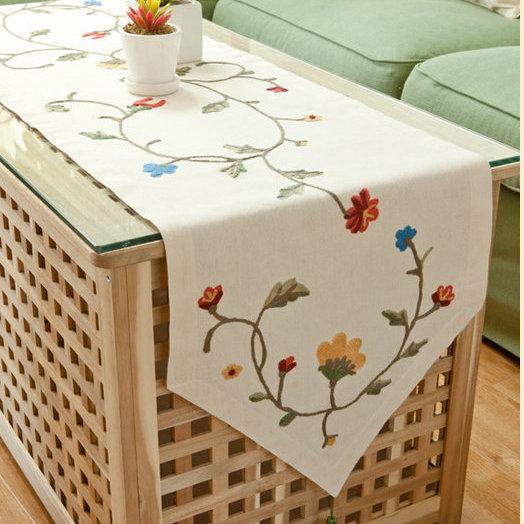 180x40cm田園北歐鄉村風手工布藝 餐桌旗 桌布 鞋櫃蓋布 桌巾 歐式桌旗 A10/單售