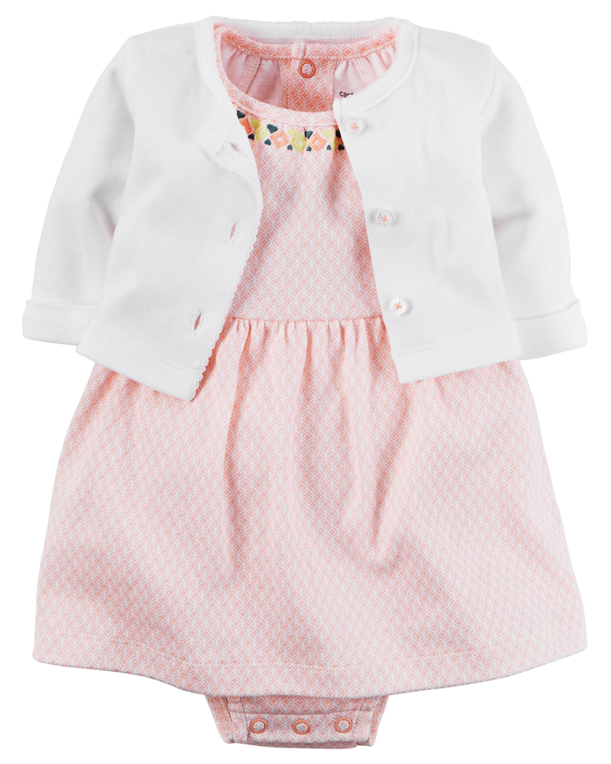 【美國Carter's】套裝2件組-粉嫩圖騰包屁式洋裝+純棉小外套#126G283