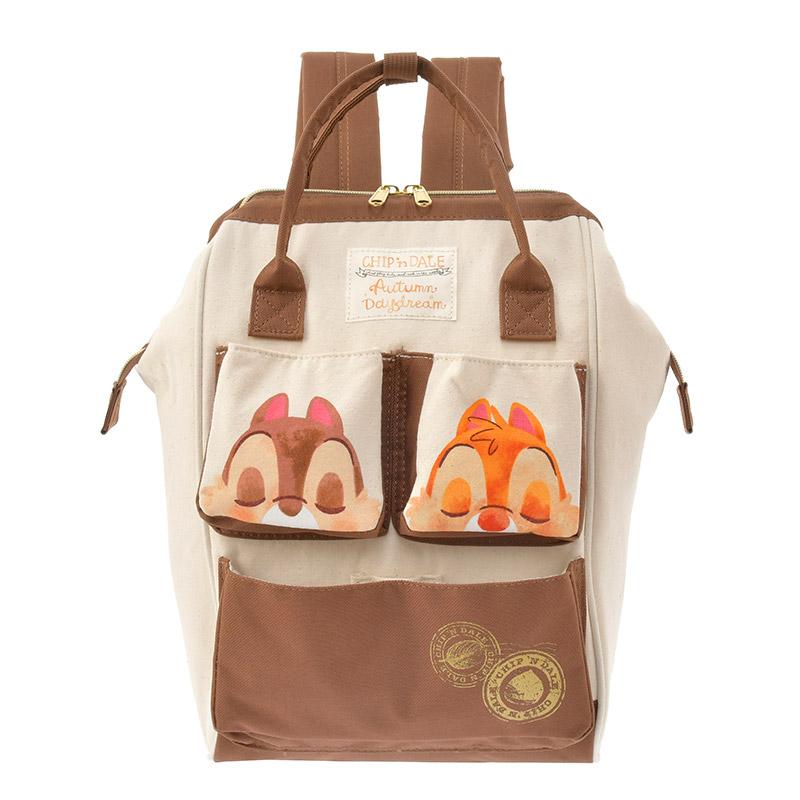 【真愛日本】16101200078    專賣店寬口後背包-秋日派對奇蒂  迪士尼 花栗鼠 奇奇蒂蒂 松鼠   背包  包包