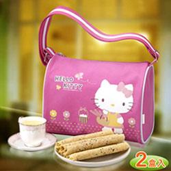 【唯愛日本】12051900005 芝麻蛋捲禮盒側背包-自然風 三麗鷗 Kitty 凱蒂貓 喜年來蛋捲 禮盒