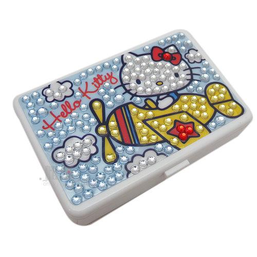 【唯愛日本】13013000032 迷你四方盒附鏡-飛機彩鑽白三麗鷗 Hello Kitty 凱蒂貓 飾品盒 文具盒