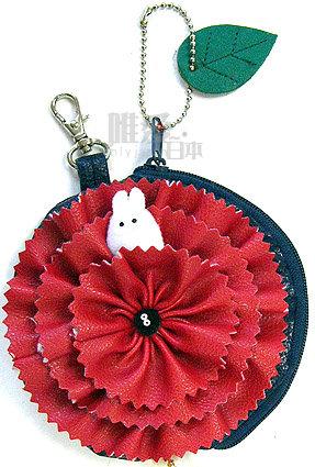【真愛日本】13052300021 皮鎖圈-小白康乃馨紅花  龍貓 TOTORO  小黑炭 吊飾 鑰匙圈 正品