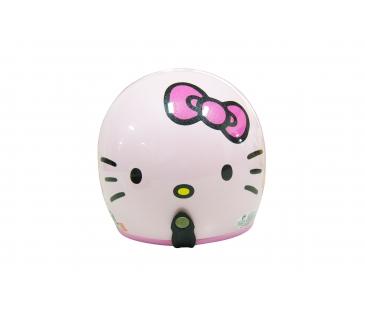 【真愛日本】全罩式復古騎士帽 四分之三3/4帽 kitty 大臉蝴蝶結-亮粉 安全帽 騎士帽 復古帽