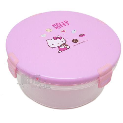 【真愛日本】12070500003 圓形保鮮盒-粉S 三麗鷗 Hello Kitty 凱蒂貓 野餐盒 食品保鮮盒