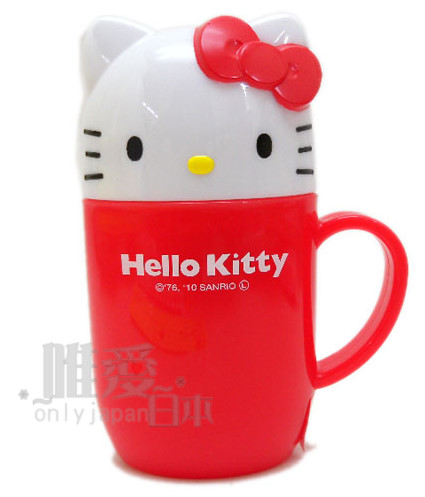 ~*唯愛日本*~D1030300008 三麗鷗Hello kitty 凱蒂貓造型攜帶杯-紅結造型杯收納杯外出杯日本帶回