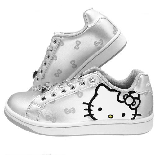 【真愛日本】亮皮休閒板鞋910613-銀 Hello kitty 凱蒂貓 亮皮板鞋 低統 低筒 潮流限定 台製