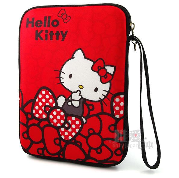 【唯愛日本】12112800003 筆電保護套-蝴蝶結紅7吋 三麗鷗 Hello Kitty 凱蒂貓 防震套 防塵套