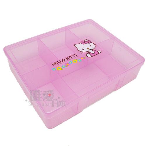 【唯愛日本】13122500001 KT6格收納盒-小花 三麗鷗 Hello Kitty 凱蒂貓 置物盒 飾品盒 正品