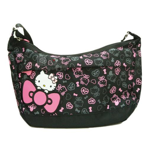 【唯愛日本】13122700010 側背包L-繽紛彩糖黑 三麗鷗 Hello Kitty 凱蒂貓 斜背包 肩背包