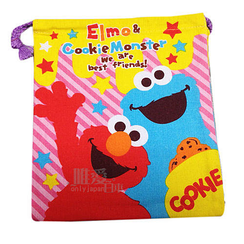 【唯愛日本】13122500052 束口袋-艾摩與曲奇 芝麻街美語 艾摩 ELMO 置物包 化妝包 正品