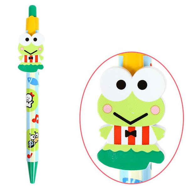 【唯愛日本】14053000013 自動原子筆-KR條紋藍衣綠 三麗鷗家族 Keroppi 大眼蛙 皮皮蛙 自動筆