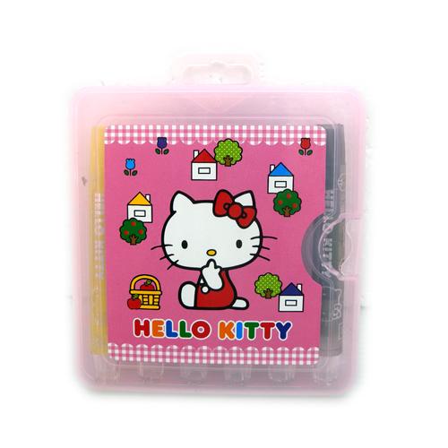 【唯愛日本】14060100008 6色胖旋轉蠟筆盒裝-房子粉 三麗鷗 Hello Kitty 凱蒂貓 繪畫工具