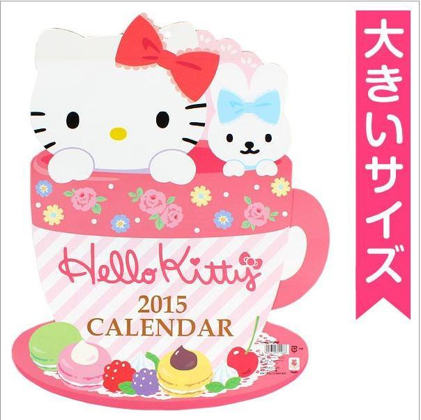 【唯愛日本】14091000028 KT造型壁曆-蛋糕咖啡杯 三麗鷗 Hello Kitty 凱蒂貓 月曆